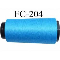 Cone de fil mousse polyester texturé fil n° 167 couleur bleu longueur du cone 2000 mètres bobiné en France