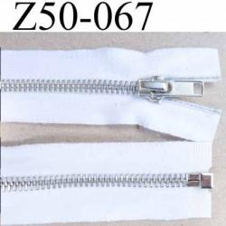 fermeture zip coton blanc largeur 3.5 cm à glissière métal  longueur 50 cm couleur blanc  séparable glissière métal 6 mm alu