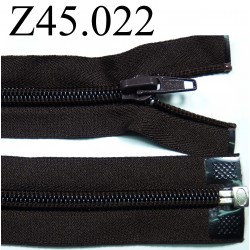 fermeture éclair  longueur 22 cm couleur marron foncé séparable zip nylon largeur 3 cm largeur du zip 5 mm