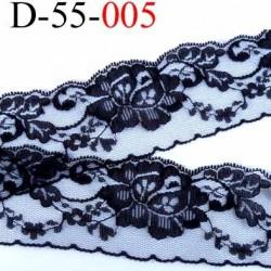 Dentelle noir largeur 55 mm synthétique  couleur noir  motif fleur prix au mètre