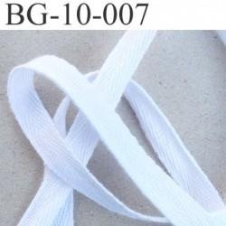 biais sergé coton galon ruban couleur blanc  largeur 10 mm vendu au mètre