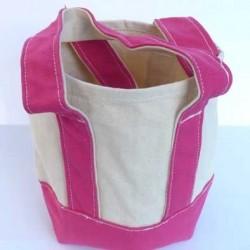 petit sac cabas en coton très solide superbe à broder ou pas  couleur écru et fushia