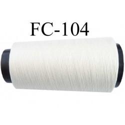Cone de fil  polyester continu fil n°80/2 couleur blanc longueur du cone 2000 mètres bobiné en France