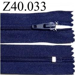 fermeture éclair  longueur 40 cm couleur bleu non séparable zip nylon  largeur 2.5 cm