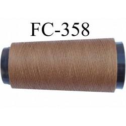 Cone de fil très résistant n° 35 polyester continu marron clair brillant superbe  longueur 2000 mètres bobiné en France