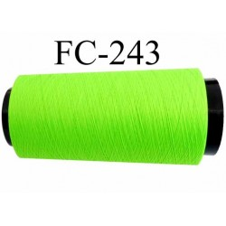 cone de fil mousse texturé polyester fil n°120 couleur vert fluo longueur du cone 1000 mètres bobiné en France
