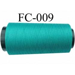 Cone de fil mousse texturé polyester fil n° 120 couleur vert longueur 2000 mètres bobiné en France