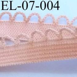 élastique picot boucle dentelle plat largeur 10 mm couleur saumon  largeur de bande 7 mm largeur de boucle 3 mm