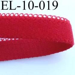 élastique picot boucle  plat largeur 12 mm couleur rouge  largeur de bande 10 mm largeur de la boucle 2 mm très doux