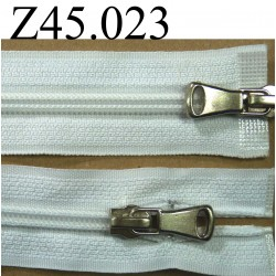 fermeture éclair double longueur 45 cm couleur blanc séparable zip nylon largeur 3 cm largeur du zip 5 mm