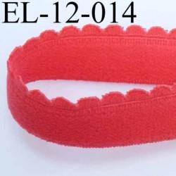 élastique picot boucle  plat largeur 12 mm couleur corail  très doux