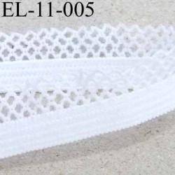 élastique picot dentelle plat largeur 11 mm couleur blanc  largeur de la bande 6 mm largeur de la dentelle boucle 5 mm