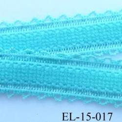élastique bretelle fantaisie picot boucle  plat largeur 15 mm couleur lagon très beau
