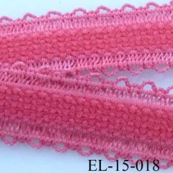 élastique bretelle fantaisie picot boucle  plat largeur 15 mm couleur corail très beau