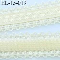 élastique bretelle fantaisie picot boucle  plat largeur 15 mm couleur crème jaune pale très beau