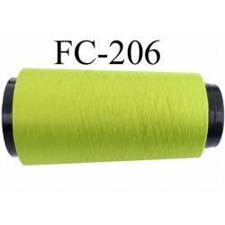 Cone de fil mousse polyester fil n° 165 couleur vert anis  longueur du Cone 2000 mètres bobiné en France