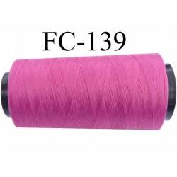 Cone de fil mousse  polyester fil n° 110 couleur fushia  longueur du Cone 1000 mètres bobiné en France