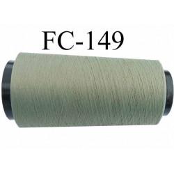 Cone de fil mousse texturé polyester fil fin n° 210 solide couleur vert kaki clair longueur 5000 mètres bobiné en France