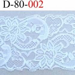 dentelle blanche largeur 80 mm synthétique lycra élastique couleur blanc lumineux douce et souple prix au mètre