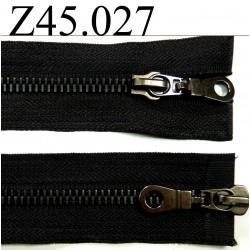 fermeture éclair double glissière longueur 45 cm couleur noir séparable zip nylon largeur 3 cm largeur du zip 5 mm