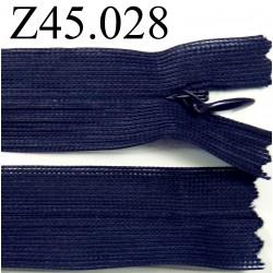 fermeture éclair invisble longueur 45 cm couleur bleu foncé non séparable zip nylon largeur 2.5 cm