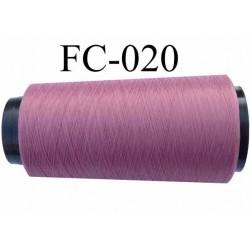 Cone de fil mousse polyester texturé fil n° 120 couleur vieux rose cone de 2000 mètres bobiné en France