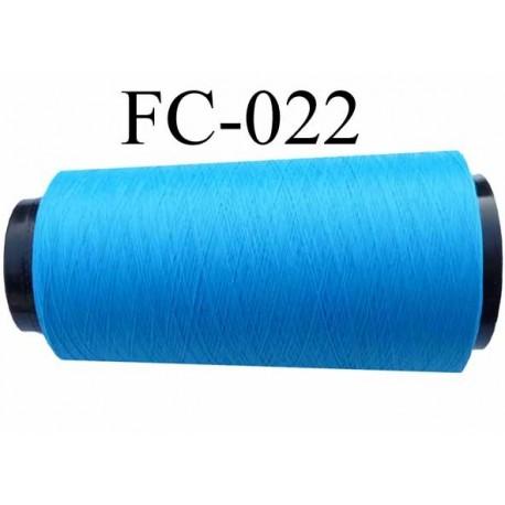 Cone de fil mousse polyester texturé fil n° 120 couleur bleu cone de 2000 mètres bobiné en France