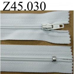 fermeture éclair  longueur 45 cm couleur blanc non séparable zip nylon largeur 2.5 cm