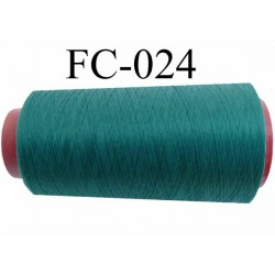 Cone  de fil mousse polyester fil n° 120 couleur vert  longueur du cone 1000 mètres bobiné en France