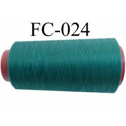 Cone  de fil mousse polyester fil n° 120 couleur vert  longueur du cone 2000 mètres bobiné en France