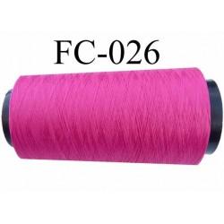 Cone de fil mousse polyester texturé fil n° 120 couleur fushia cone de 1000 mètres bobiné en France