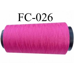 Cone de fil mousse polyester texturé fil n° 120 couleur fushia cone de 2000 mètres bobiné en France
