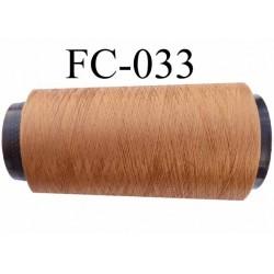 Cone de fil mousse polyester texturé fil n° 120 couleur marron clair caramel blond cone de 5000 mètres bobiné en France