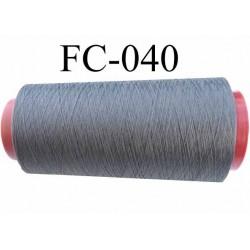 Cone de fil mousse polyester texturé fil n° 120 couleur gris anthracite  cone de 2000 mètres bobiné en France