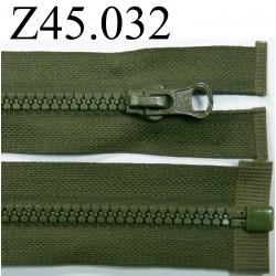 fermeture éclair  longueur 45 cm couleur vert kaki séparable zip nylon largeur 3 cm largeur du zip 4 mm