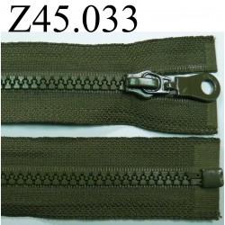 fermeture éclair  longueur 45 cm couleur vert kaki séparable zip nylon largeur 3.3 cm largeur du zip 5 mm