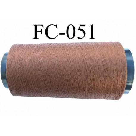 Cone de fil mousse polyester texturé fil n° 120 couleur marron clair cone de 1000 mètres bobiné en France