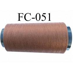 Cone de fil mousse polyester texturé fil n° 120 couleur marron clair cone de 2000 mètres bobiné en France