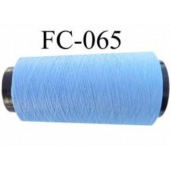Cone de fil mousse polyester texturé fil n° 120 couleur bleu ciel cone de 2000 mètres bobiné en France