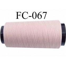 Cone de fil mousse polyester texturé fil n° 120 couleur rose pétale clair cone de 2000 mètres bobiné en France