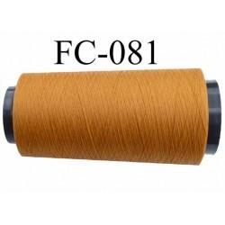 Cone de fil mousse polyester texturé fil n° 120 couleur jaune caca d'oie cone de 2000 mètres bobiné en France