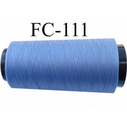 Cone de fil mousse polyester texturé fil  n° 120 couleur bleu cone de 5000 mètres bobiné en France