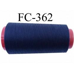 Cone de fil mousse polyester texturé fil n° 110 couleur bleu marine cone de 2000 mètres bobiné en France