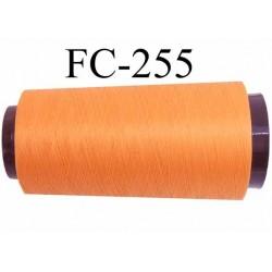Cone de fil mousse polyester fil n° 120 couleur orange saumoné longueur 2000 mètres bobiné en France