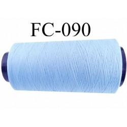 Cone de fil mousse polyamide fil n° 120 couleur bleu ciel longueur du cone 2000 mètres bobiné en France