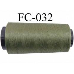 CONE de fil mousse polyamide fil n° 100 / 2 couleur vert kaki  longueur de 2000 mètres bobiné en France