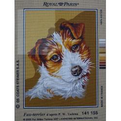canevas 30X40 marque ROYAL PARIS thème chien fox-terrier dimension 30 centimètres par 40 centimètres 100 % coton