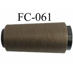 Cone de fil polyester texturé fil n° 165 couleur vert kaki foncé longueur 2000 mètres bobiné en France