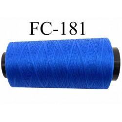 Cone de fil polyester continu n° 60 couleur bleu lumineux très solide longueur du cone 2000 mètres bobiné en France