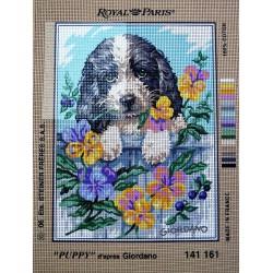 canevas 30X40 marque ROYAL PARIS thème chien puppy  dimension 30 centimètres par 40 centimètres 100 % coton